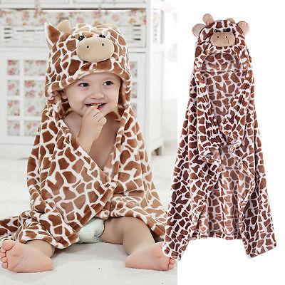 Pudcoco Bath Bear Shaped Baby Hooded Bathrobe Soft Infant Newborn Giraffe Towel Blanket Baby Leopard Bath Shower Towels 100 CM