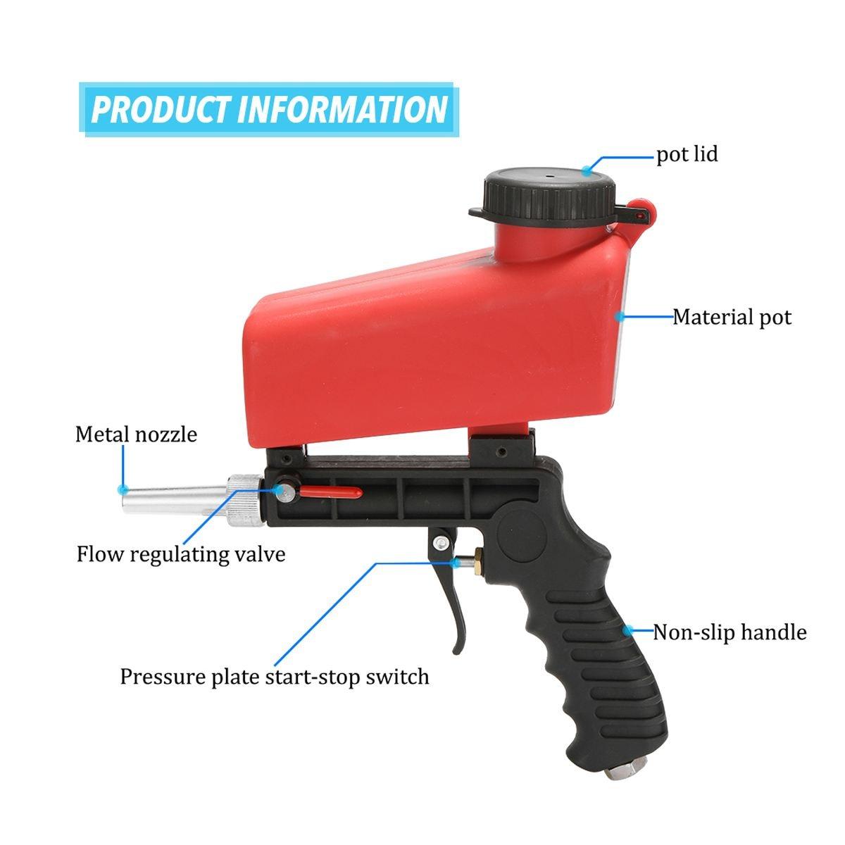 Image 3 - 90psi Portable Gravity Sandblasting Guns Aluminium Pneumatic Sandblaster Spray Guns Sand Removal Blasting Power MachineSpray Guns   -