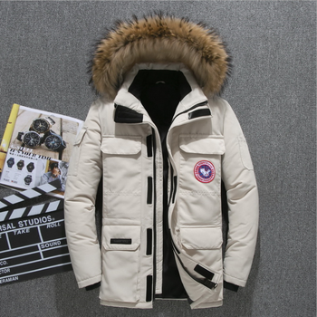 Canada goose men's down high quality thick warm winter jacket hooded thickened duck down Parka casual slim coat Multi Pocket
