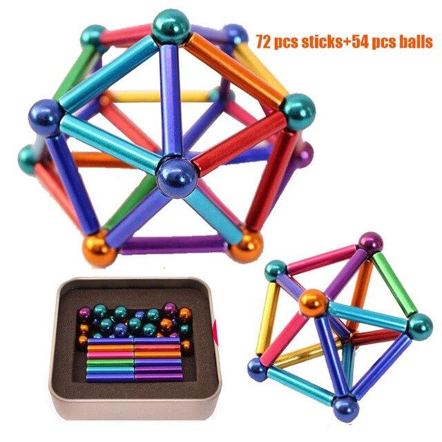 72 STICKS AND 54 BALLS METAL MAGNETS CUBE MAGIC BUILDING BLOCKS SET CHILDREN
