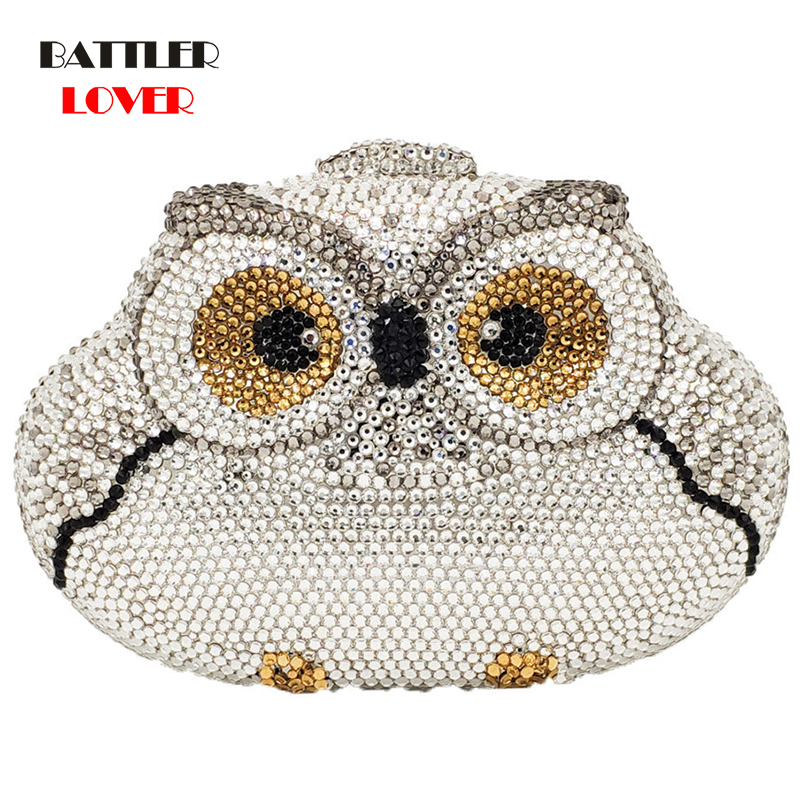 Bags for Women Dazzling Silver Owl Clutch Women Crystal Evening Bag Wedding Cocktail Party Diamond Minaudiere Handbag and Purse