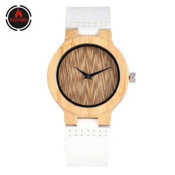 цена на REDFIRE Elegant Women Watch Natural Bamboo Wood Women's Watches Quartz Ladies Wooden Clock Simple White Genuine Leather Strap