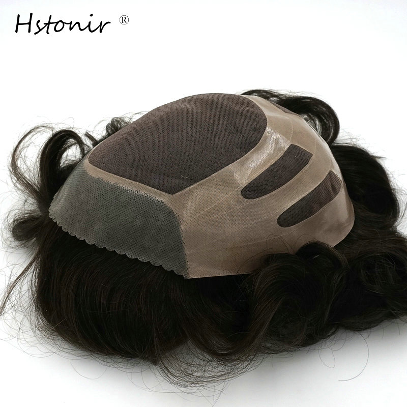 Hstonir Mono Top Hair Piece With NPU Most Durable Toupee Indian Remy Hair Men Wig H033
