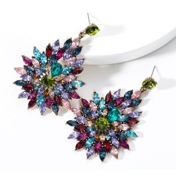 KMVEXO Colorful Crystal Drop Earrings Women Round Geometric Pendant Dangle Earrings Indian Bridal Statement Jewelry Party Bijoux 13