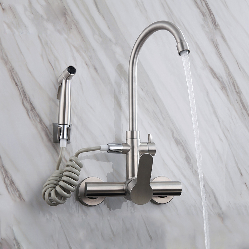 Stainless Steel Kitchen Faucet 360 Degree Rotation Wall Mounted Basin Tap With Bidet Nozzle Shower Sprayer Cold Hot Water Mixer