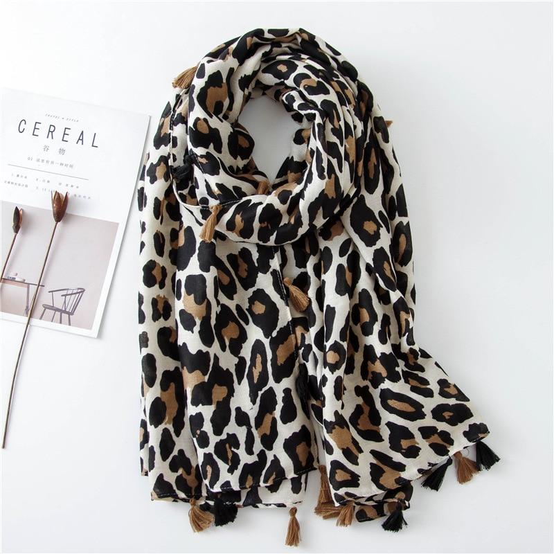 2019 Fashion Women Leopard Print Scarf 180*90cm Leopard Stole Thin Cotton Warm Large Shawls and wraps foulard femme cachecol