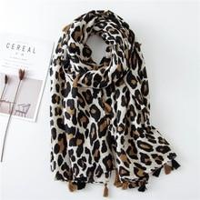 2019 Fashion Women Leopard Print Scarf 180*90cm Leopard Stole Thin Cotton Warm L