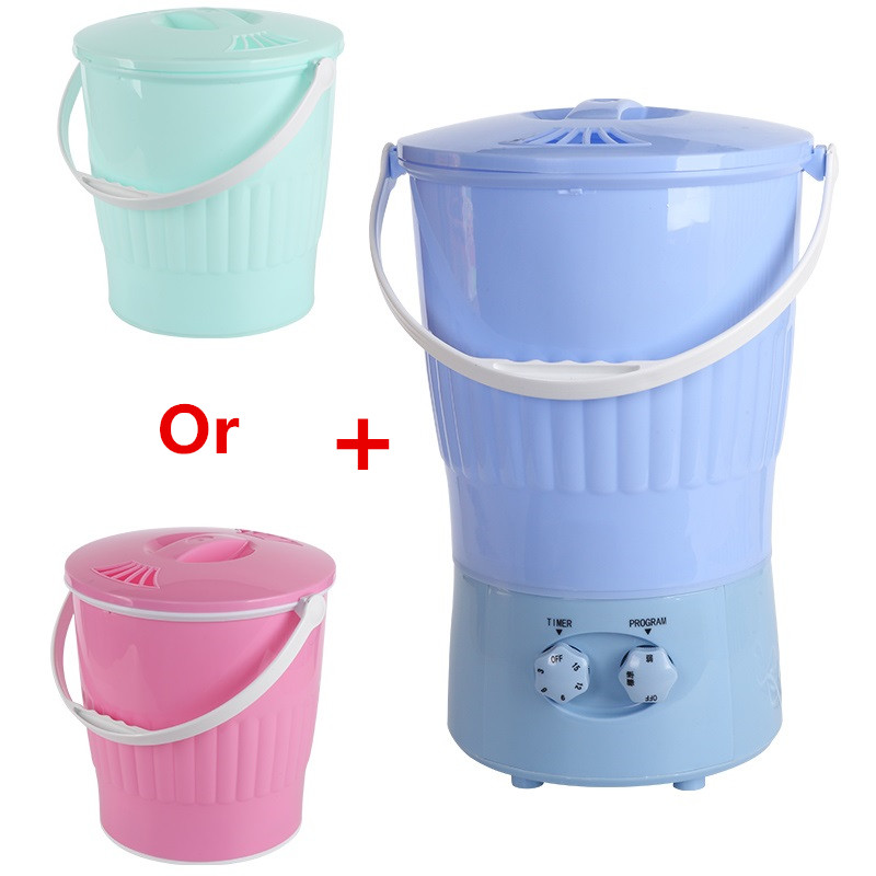 220V Mini Electric Clothes Washing Machine Portable Multifunctional Socks Clothes Washing Machine Semi-automatic With 2 Buckets