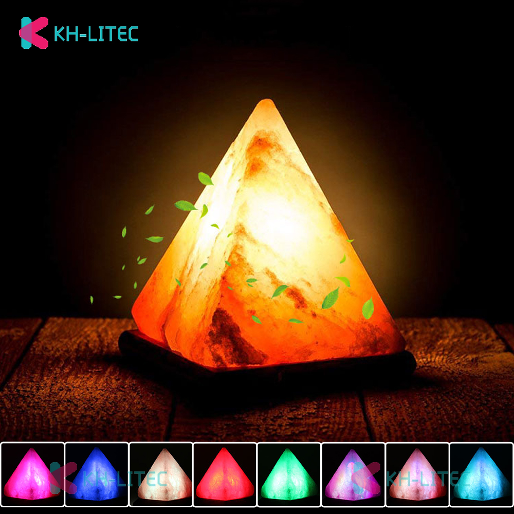 KHLITEC Triangle USB Salt Lamp Hand Carved Purifier Night Light Wooden Base Himalayan Colorful Natural Crystal Rock Lamp Light