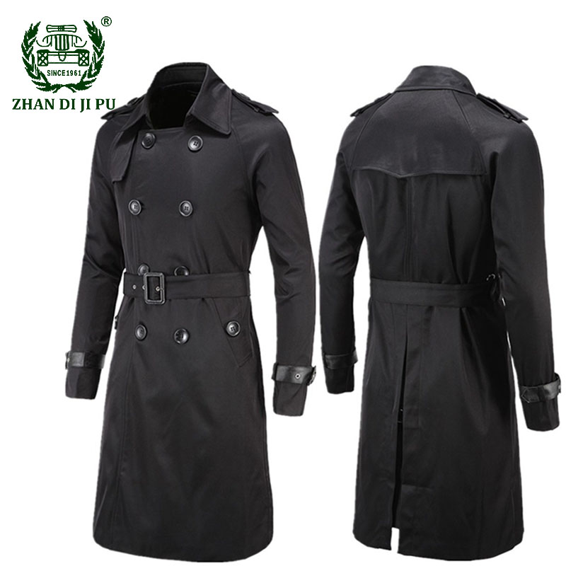 Brand British Style Classic Trench Coat Jacket Men Fashion Trench Coat Male Double Breasted Long Slim Outwear Adjustable Belt