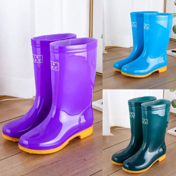 Women Mid-Calf Rain Boot Ladies Waterproof Rubber Knee High Boots Outdoor Shoes Female Winter Fur Warm High Quality Rain Boots