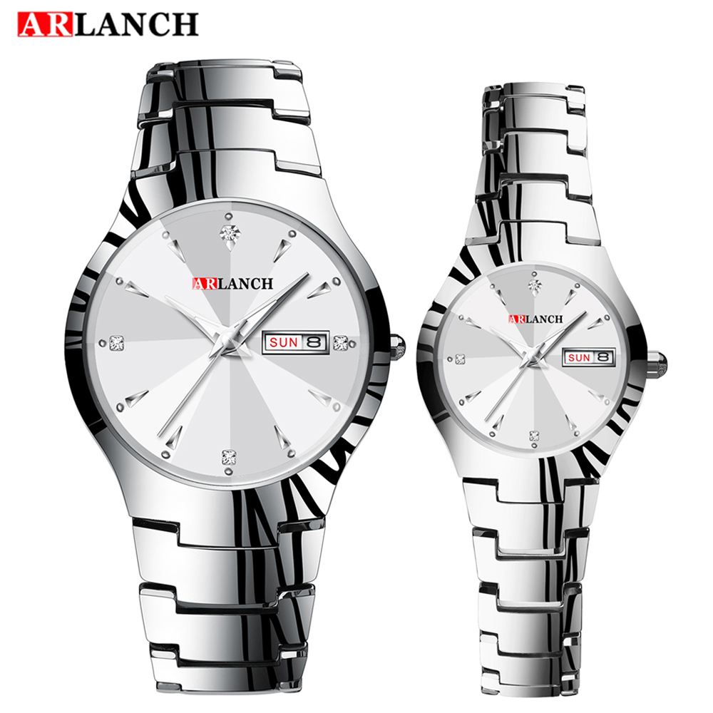 ARLANCH Fashion Lovers Casual Quartz Watches Men Women Military Waterproof Date Stainless Steel Male Clock Relogio Masculino