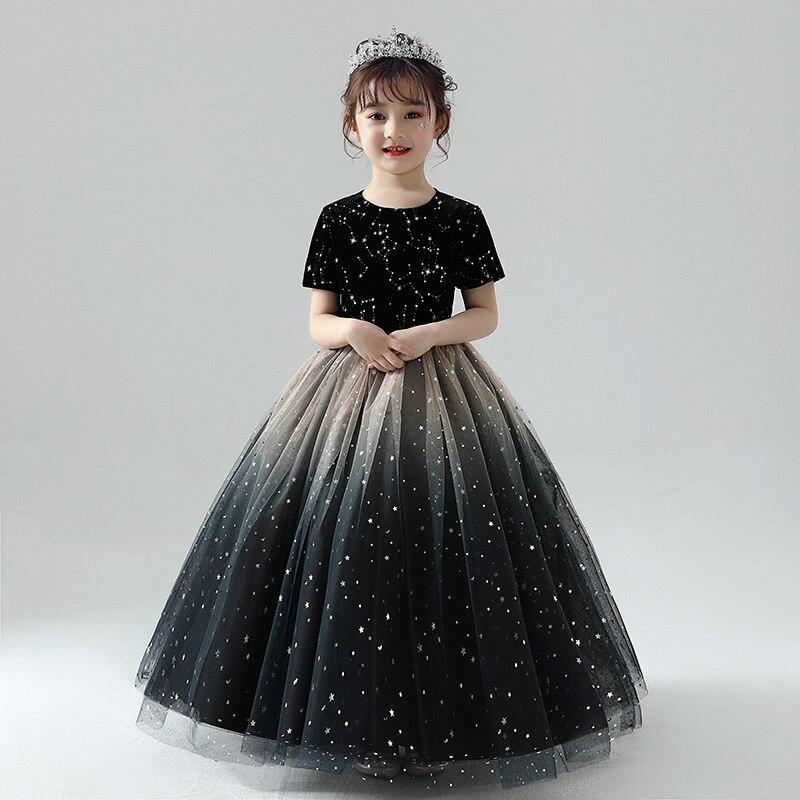 2019 new   flower     girl     dress   female princess   dress   fluffy yarn long new model catwalk small host piano performance