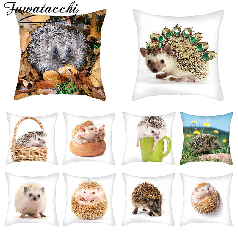 Fuwatacchi Small Animal Pillow Cover Cute Hedgehog Cushion Cover Printed Throw Pillowcase For Home Sofa Decorative Pillow