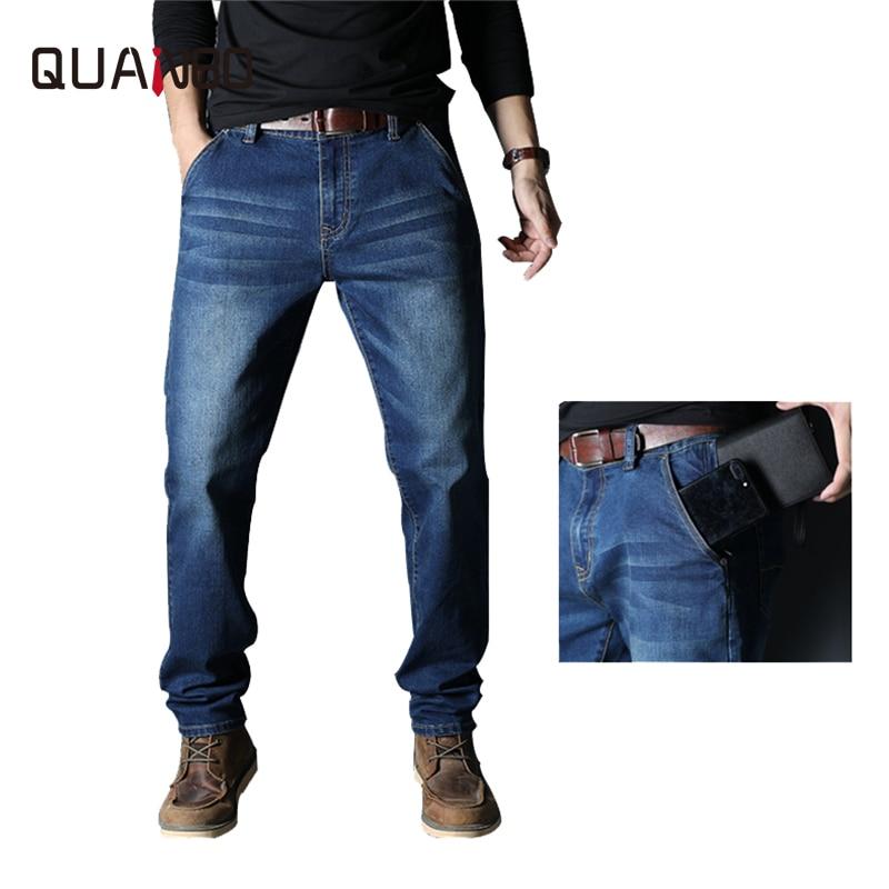 Big Size 42 44 46 48  2019 New Men's Fashion High Waist Jeans Streetwear Anti-thief Casual Stretch Black Blue Denim Pants Braand