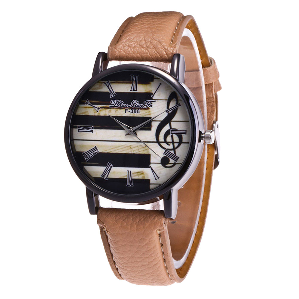 Glass Mirror Quartz Watch Round Dial Synthetic Leather Band Couple Watch LL@17
