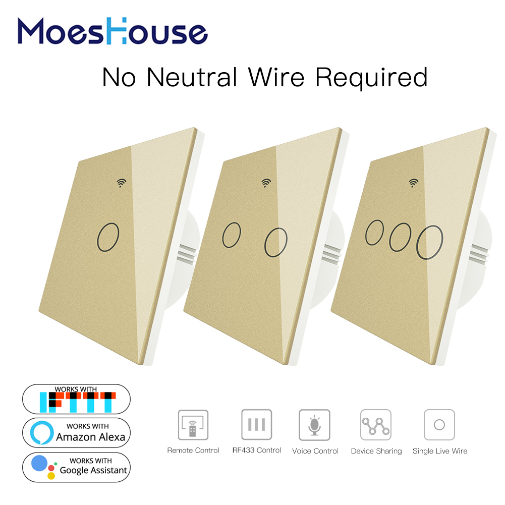Gold WiFi Smart Wall Switch No Neutral Wire Needed Wireless Smart Life Tuya Remote Control Single Fire Work With Alexa RF433