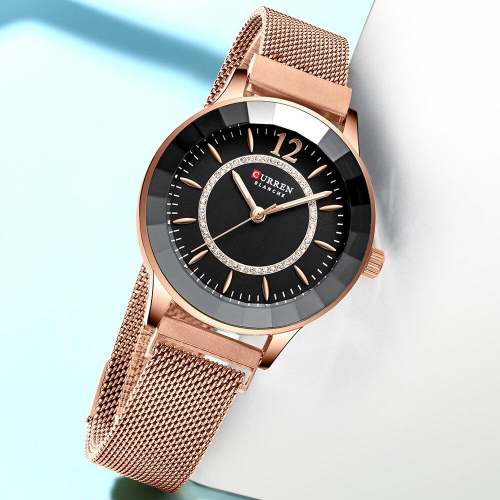 Image 2 - CURREN Charming Rhinestone Quartz Watch Fashion Design Watches Women Stainless Steel Band Clock Female Luxury reloj mujer-in Women's Watches from Watches