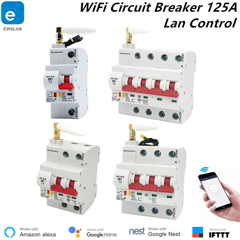 1 P/2 P/3 P/4 P 125A wifi disjoncteur de commande à distance/commutateur intelligent/surcharge de réperdant automatique/protection contre les courts-circuits alexa