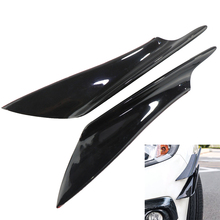 Universal 4pcs Car Front Bumper Deflector Lip Splitter Fins Canards Body Spoiler Front Bumper Lip Splitter Fin Air Knife black