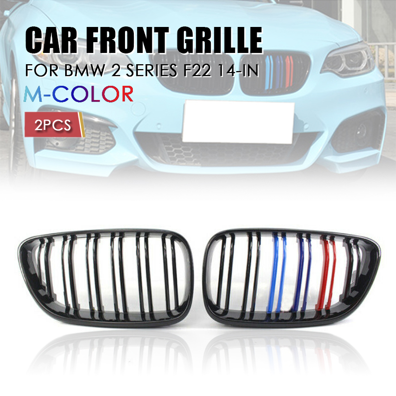 For BMW F22 2 series dual double bar M2 look grille grill Black With M2 MC 14-18