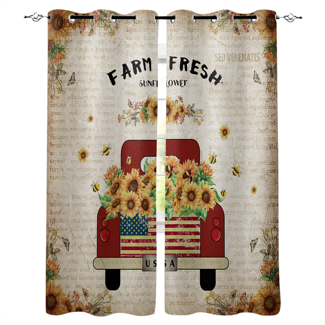 Sunflower Farm Vintage Old Newspaper Window Blinds Living Room Bathroom Outdoor Kitchen Drapes Decor Swag Kids Curtain Panels Curtains Aliexpress