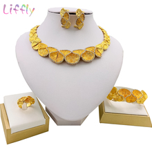 Trendy Jewelry Nigeria Exquisite Almond Necklace Earrings Ring Bracelet Women Fashion Sets