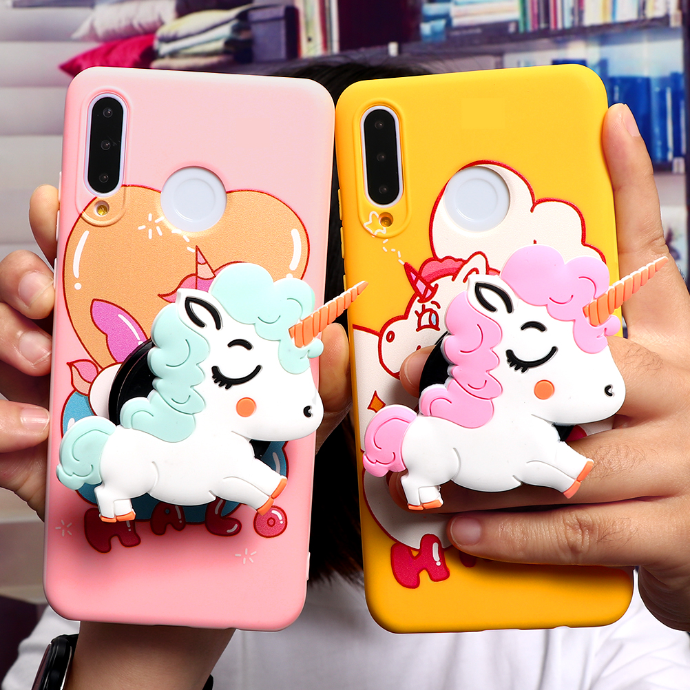 3D Cute Unicorn TPU Case For Huawei P40 P30 P20 Honor 10I 8X 9X 8A Mate 20 10 Lite Pro Y6 Y7 Y9 P Smart 2019 Z Holder Cover Capa