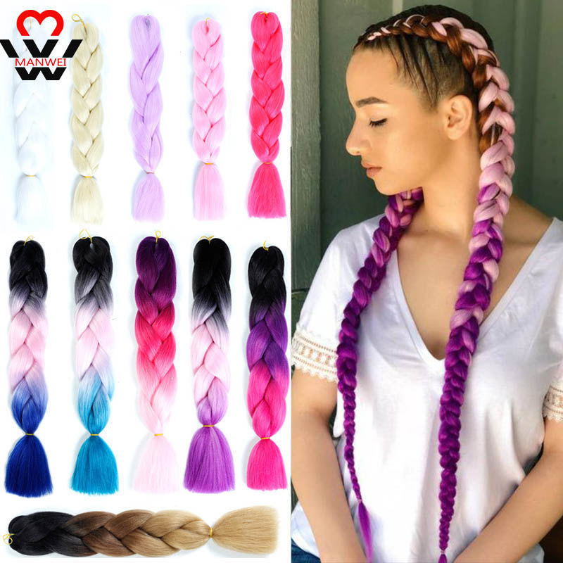 MANWEI 24 Inches Hair Synthetic African Afro Jumbo Hair Braids Blue Pre Stretched Ombre Braiding Hair Extensions