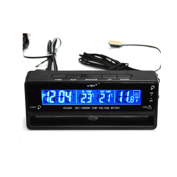 Monitor de batería del medidor de voltaje de temperatura del termómetro del reloj Digital del coche