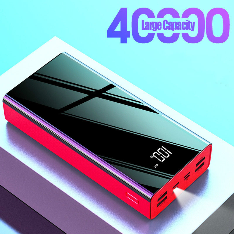 40000mah PoverBank LCD Power Bank External Battery USB Large Capacity Mirror Screen Portable Mobile Phone Charger For Iphone