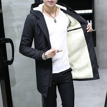 Men's Windbreaker Long Parka Hooded Korean Warm Anorak Coat Male Cotton Clothing Fur Fleece Men Winter Jacket - discount item  44% OFF Coats & Jackets