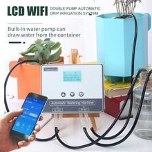 New garden automatic drip irrigation system watering system wifi double pump LCD watering device Watering Kits Garden tools cheap floor boot CN(Origin) 15 M pipe 15 three-way arrow drop Rubber drip irrigation series other Dual-pump LCD Independent home Gardening