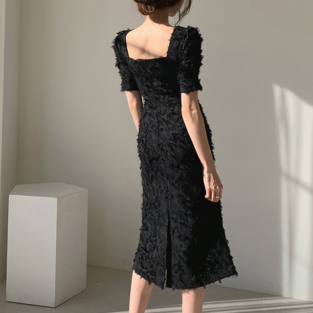 Vintage Square Collar Elegant Short Sleeve Backless Dress truly a classic 6