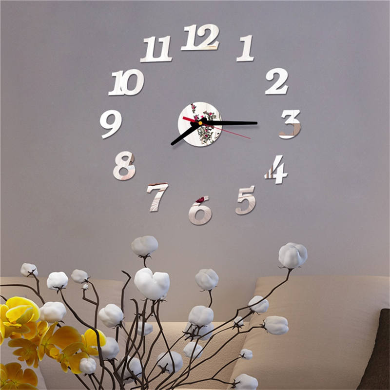 Wall-Clock Number Acrylic Mirror Home-Decor Reloj-De-Pared Roman Simple DIY Mural 3D title=