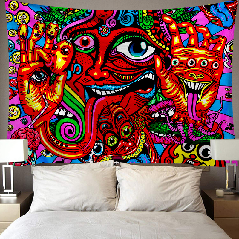 Wall hanging Tapestry Mysterious Hippie Tapestry Abstract Pattern Trippy Tapestry Fantasy Magical Fractal Tapestry