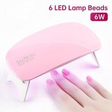 Mini 6W Nail Dryer Machine Portable 6 LED UV Manicure Nail Lamp For Machine USB Cable Nail Lamp For Drying Nails Art Tools