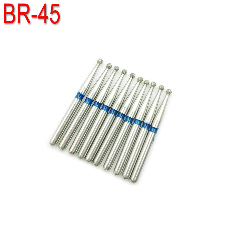 10PCS Diamond Dental Burs Drill FG Dia-burs Medium Ball Round Type 1.6M For High Speed Handpiece BR-45