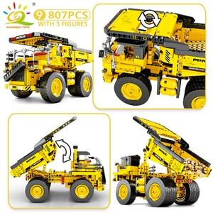 Image 5 - HUIQIBAO הנדסת דחפור מנוף טכני Dump משאית אבני בניין עיר בניית רכב רכב צעצוע לילדים ילדים מתנה