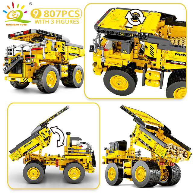 HUIQIBAO Engineering Bulldozer Crane Technic Dump Truck Building Blocks City Construction vehicle car Toy For Children kids gift