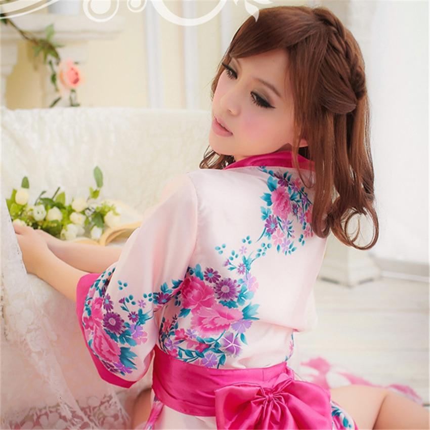 Japanese Style Women Dress Kimono Cosplay Sleepwear Yukata Obi Thin Short Floral Asian Dresses For Adult Pajamas Clothing