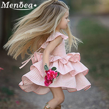 Menoea 2016 New Autumn Cartoon Girls Dress  Clothes Long Sleeve Peter pan Collar Print for Kids