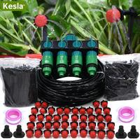 KESLA 5 50M Garden Watering Micro Drip Irrigation DIY System 4 Way 1&1/2&3/4 Inch Water Hose Splitter Hose Dripper Tee Connector|Watering Kits| |  -