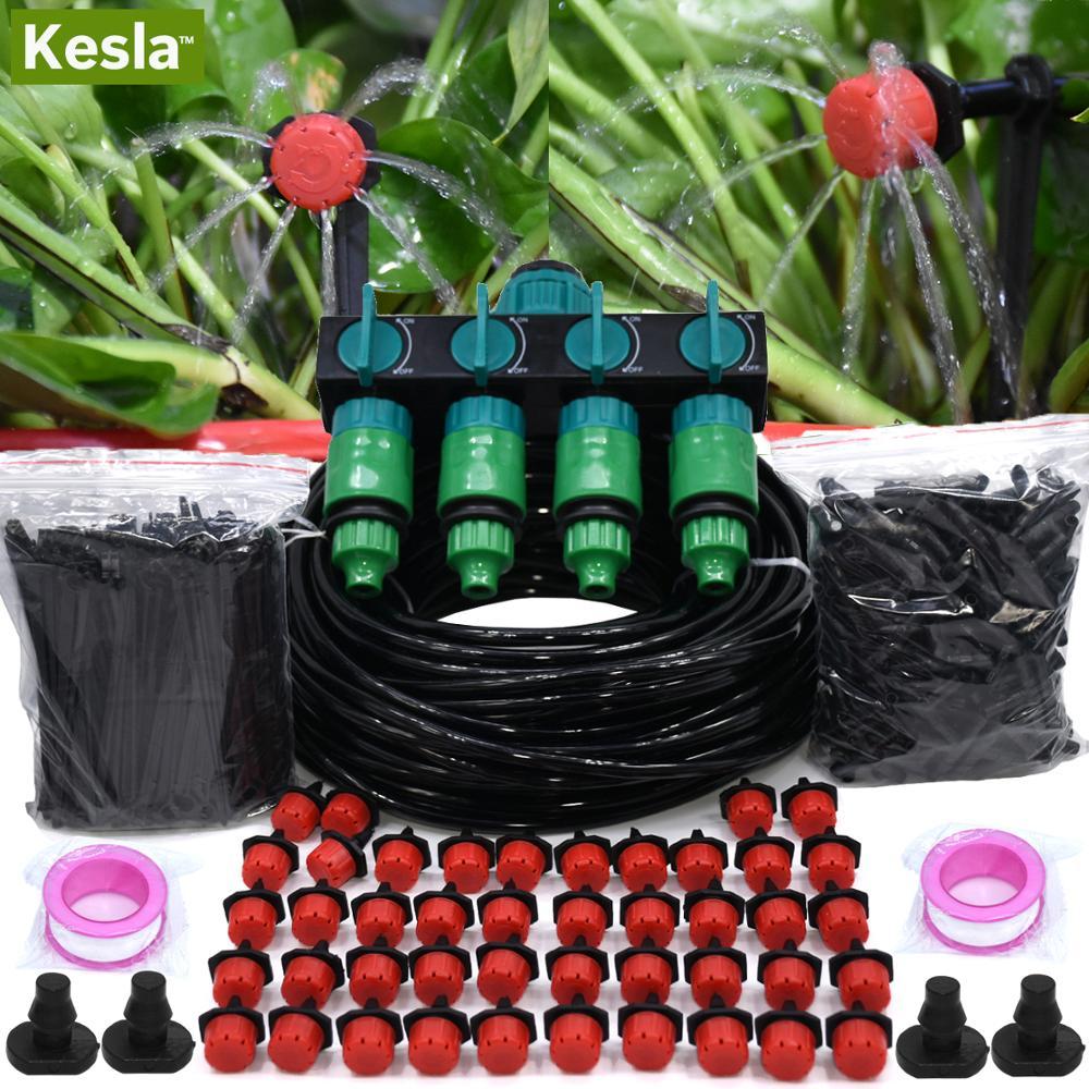 KESLA 5-50M Garten Bewässerung Micro Drip Bewässerung DIY System 4-Weg 1 & 1/2 & 3/4 zoll Wasser Schlauch Splitter Schlauch Tropf T Stecker
