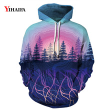 Mens Womens 3D Sweatshirt Space Galaxy Forest Tree Graphic Print Hoodies Streetwear Pullover Tracksuit Couple Clothes