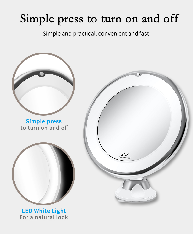 LED Mirror Light Makeup Mirror with Led Light Flexible 10X Magnifying Mirrors Light Cosmetic Miroir Vanity Mirrors