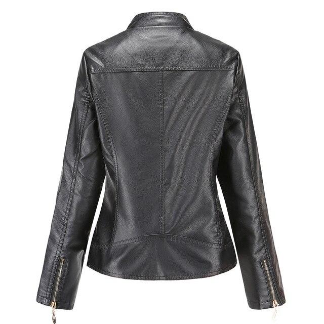 Модная кожаная женская куртка на молнии из искусственной кожи высокого качества 4