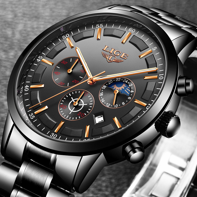 Relogio Masculino LIGE New Mens Watches Top Brand Luxury Quartz Clock Men All Steel Waterproof Wrist Watch Men Sport Chronograph
