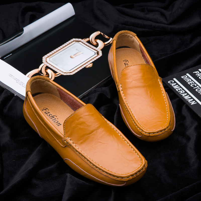 Fashion leather men's shoes casual flat men's shoes breathable loafers men's leather moccasins comfortable hot