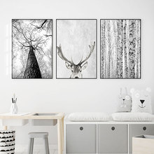 Modern Scandinavian Wall Art Grey White Tree Canvas Painting Deer Animal Posters and Prints Pictures for Living Room Decoration(China)